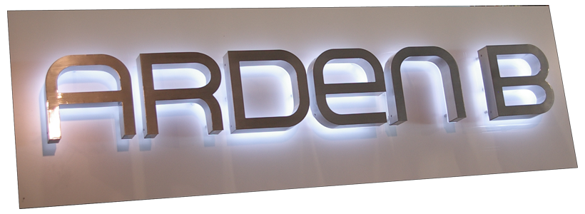 reverse illuminated channel letter on a oversized custom cabinet