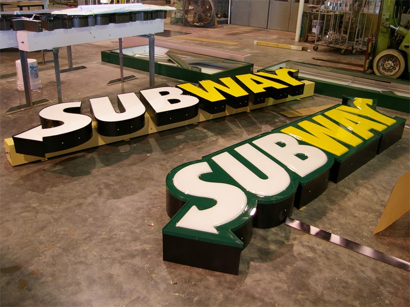 channel letters on a raceway subway channel letters on a raceway and as logobox